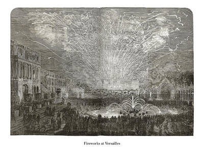 Drawing - Fireworks at Versailles by London Illustrated News