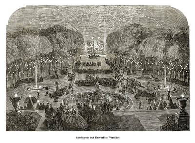 Drawing - Illumination and Fireworks at Versailles by London Illustrated News