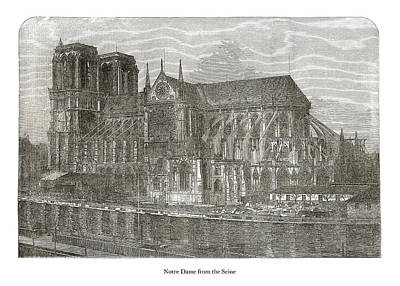 Drawing - Notre Dame from the Seine by London Illustrated News