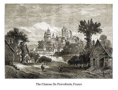 Drawing - The Chateau de Pierrefonds by London Illustrated News