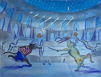 Painting - Cat Gladiators by Roxana Lehmann-Haupt