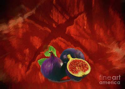Digital Art - Figs in dark red by Roberto Giobbi