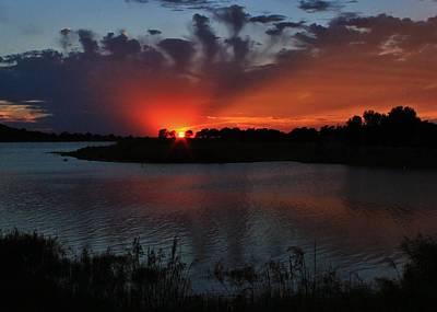 Photograph - Sunset Thru The Clouds over Wilson Lake, Kansas by Greg Rud
