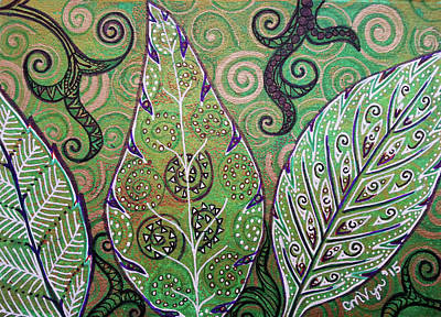 Mixed Media - Leaves and Spirals by Michelle Vyn