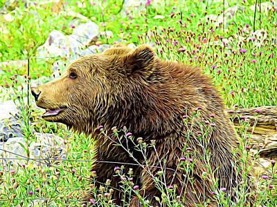 Digital Art - Brown Bear in Field by Jurgen Huibers