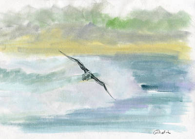 Mixed Media - Herring Gull Skimming the Waves by Catherine Considine
