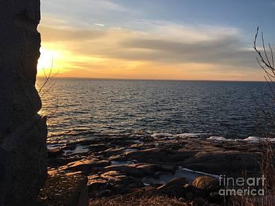 Photograph - Lake Superior Sunset Left by Daniel Derieg
