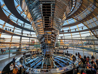 Photograph - Reichstag Dome at Sunset by Michael Hodgson