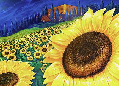 Digital Art - Sunflower Dream in Tuscany by Brenda Ferrimani