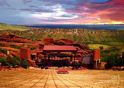 Photograph - Sunrise at the Red Rocks Amphitheater, Denver Colorado by Sherry Little Fawn Schuessler