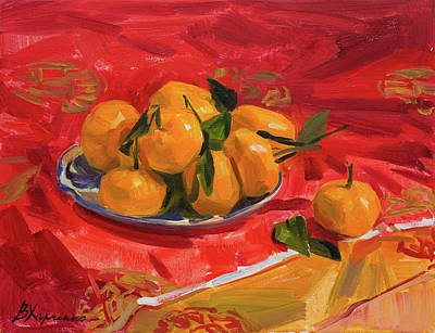 Painting - Tangerines on red by Victoria Kharchenko