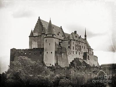 Photograph - Vianden Castle BW by Jurgen Huibers