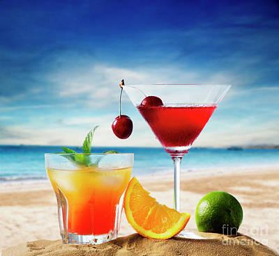 Photograph - Iced Cocktails on tropical sandy beach by Jelena Jovanovic