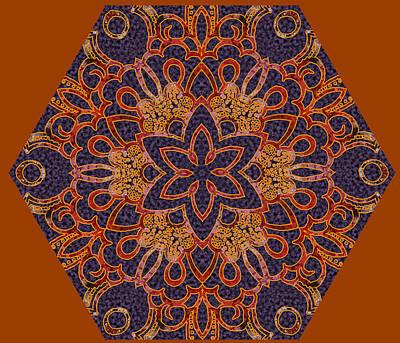 Digital Art - Byzantine Fire Kaleidoscope by Sarajane Helm