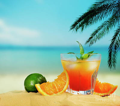 Photograph - Ornage Cocktail on the beach by Jelena Jovanovic