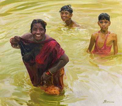 Painting - Yellow River by Victoria Kharchenko
