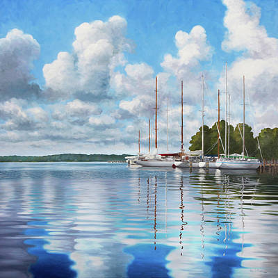 Painting - Reflections on Fishing Bay by Guy Crittenden