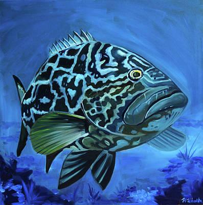 Painting - Black Grouper by Monika Urbanska
