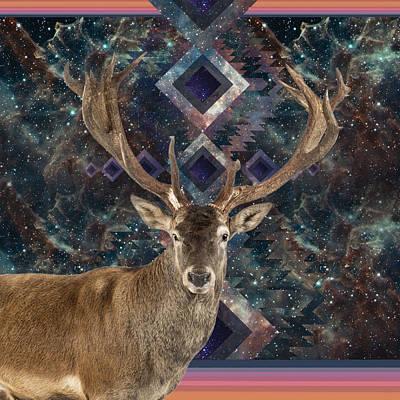 Drawing - Cosmic Deer by Lori Menna