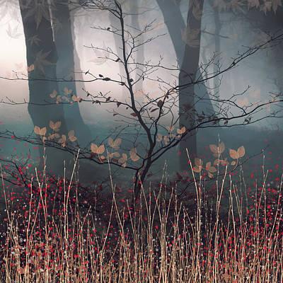 Digital Art - Dawn Mist and Small Tree by Glenys Garnett