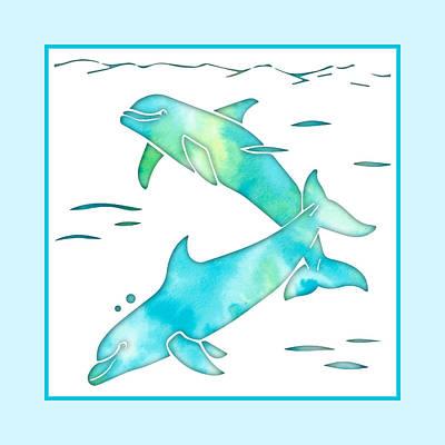 Mixed Media - Aqua Sea Dolphins by Rebecca Gallant