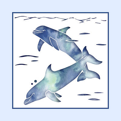 Mixed Media - Blue Sea Dolphins by Rebecca Gallant