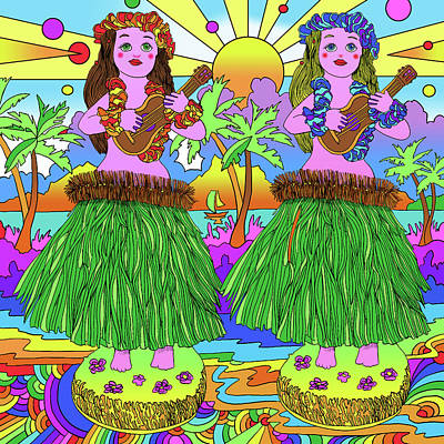 Hula Girl Digital Art