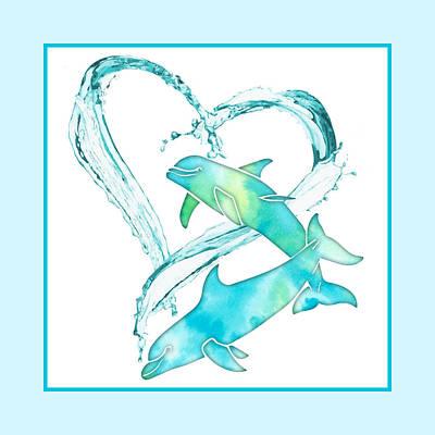 Mixed Media - I Love Dolphins - aqua sea by Rebecca Gallant