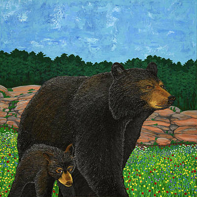 Painting - Muskoka Black Bear and Cub by Michelle Vyn