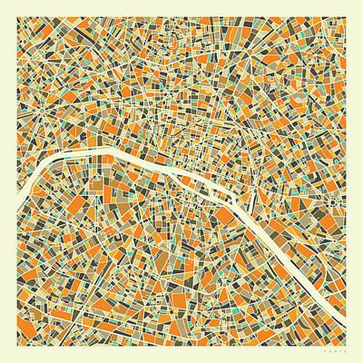 Paris Map Digital Art