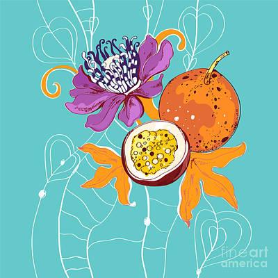 Passion Fruit Flower Art Prints
