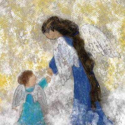 Painting - Angel Baby by Jen Gray