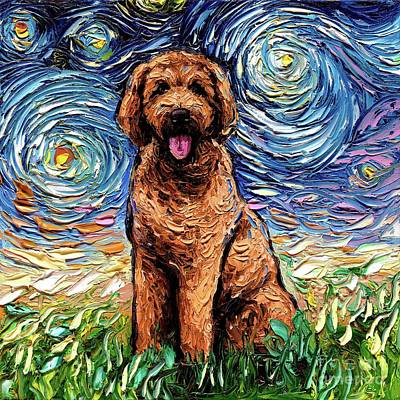 Painting - Apricot Goldendoodle by Aja Trier