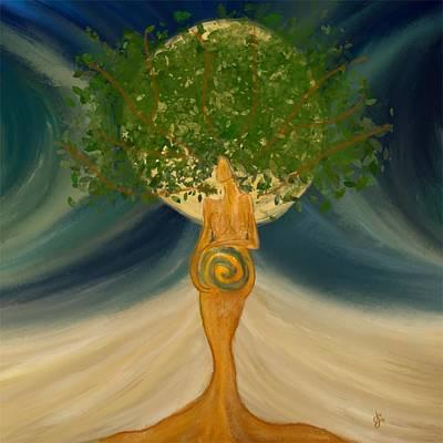 Painting - Beltane Goddess by Jen Gray
