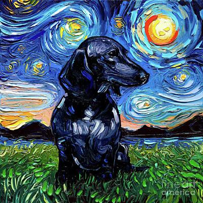 Painting - Black Dacshund by Aja Trier
