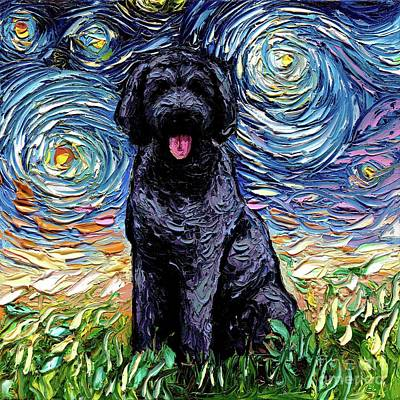 Painting - Black Goldendoodle by Aja Trier