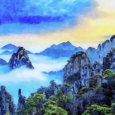 Painting - Clouds Yellow Mountain China  by Russ Harris