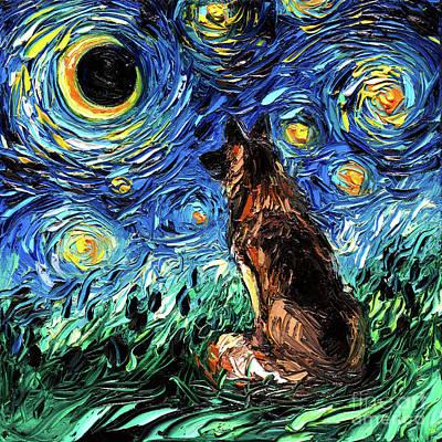 Painting - German Shepherd Night by Aja Trier