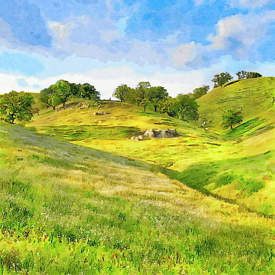 Painting - Golden California Hills by Russ Harris