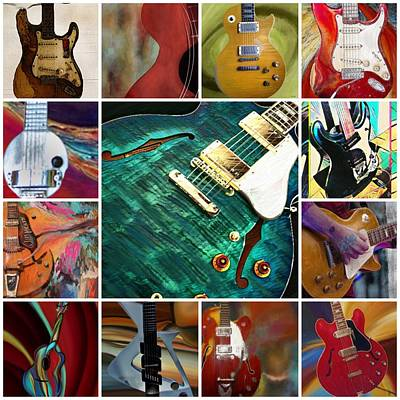 Painting - Guitar Collage by Jen Gray