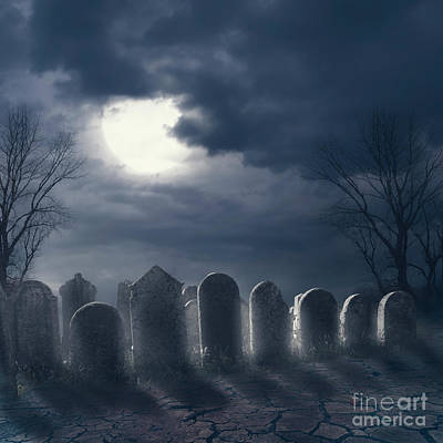 Photograph - Halloween night scene with graveyard and full moon by Jelena Jovanovic