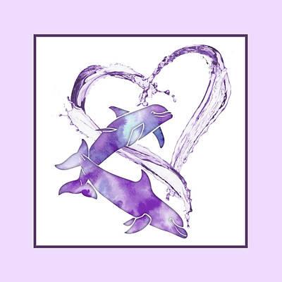 Mixed Media - I Love Dolphins - purple sea by Rebecca Gallant
