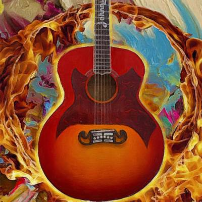 Painting - Johnny Cash Fire by Jen Gray