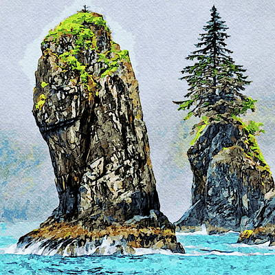 Painting - Kenai Fjords Cove Spires by Russ Harris