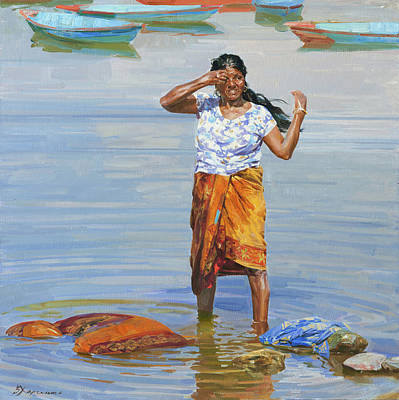 Painting - Noon on the Fewa lake by Victoria Kharchenko