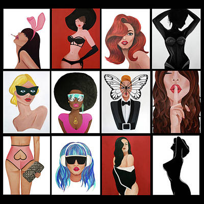 Painting - Pin Up Girls Series by Allison Liffman
