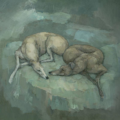 Painting - Sleeping Greyhounds by Steve Mitchell