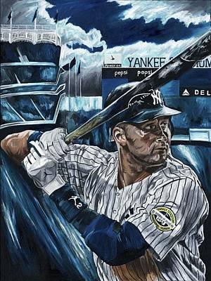Derek Jeter New York Yankees Baseball Mlb Shortstop Hitter David Courson Paintings