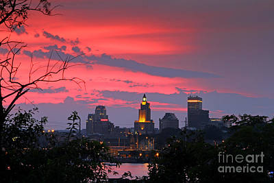 Photograph -                                                       4th Of July Sunset Providence Ri by Butch Lombardi