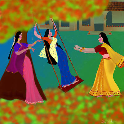 Diwali Digital Art -                        The Swing Under The Gulmohur Tree                                             by Latha Gokuldas Panicker